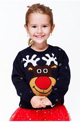 Свитер Рождественский с оленем девочке