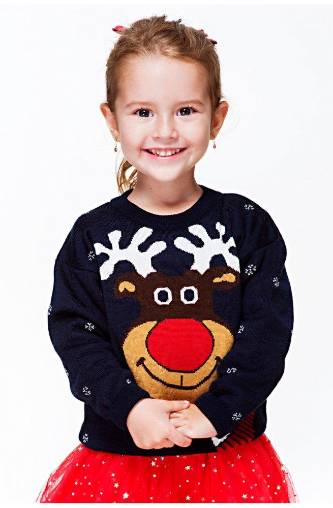 25851e42e3668f Светр Різдвяний з оленями. Розмір: 110 116 . Колір: т.синій . Код ...