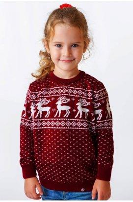Светр з Оленями для дівчинки - Дитячий Новорічний, Різдвяний светр - Бордовий