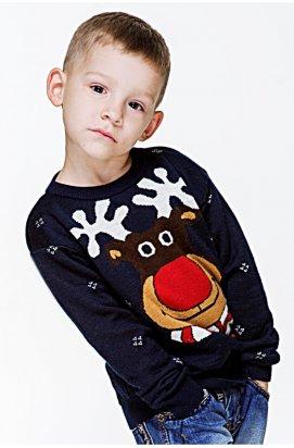Светр з Оленями для хлопчика - Дитячий Новорічний, Різдвяний светр - Синій