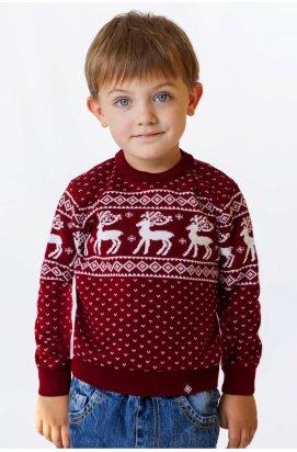 Светр з Оленями для Хлопчика - Дитячий Новорічний, Різдвяний светр - бордовий