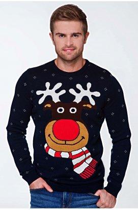 Свитер с Оленями - Мужской Новогодний, Рождественский свитер - Синий