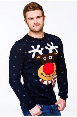 Свитер Рождественский с оленями мужской