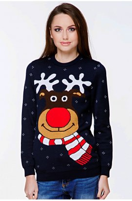 Свитер с Оленями женский - Новогодние, Рождественские свитера - синий