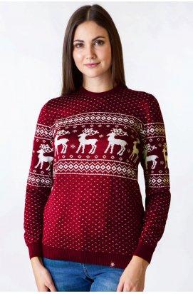 Светр з Оленями Жіночий - Новорічні, Різдвяні светри - Бордовий