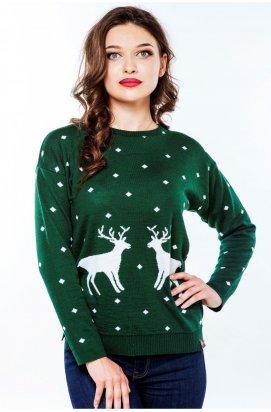 Свитер с Оленями Женский - Новогодние, Рождественские свитера - Зеленый