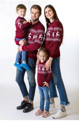 """Свитера с оленями для всей семьи - """"Рождественские оленята"""" - Бордовый"""