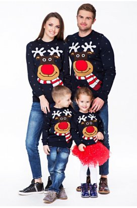 """Свитера с оленями. Новогодняя семейная коллекция """"Рождественские оленята"""" синий"""