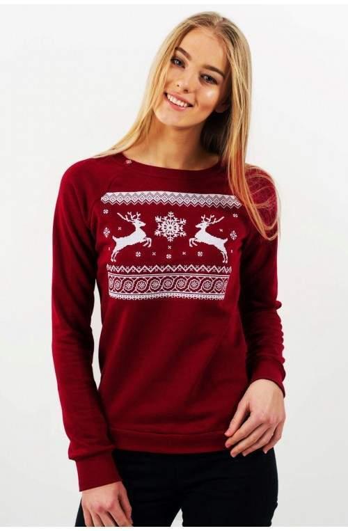 Свитер с оленями женский (свитшот рождественский) - Бордовый