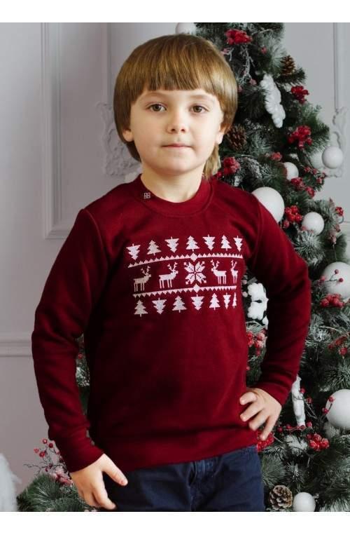 Свитер с оленями - детский (свитшот рождественский)