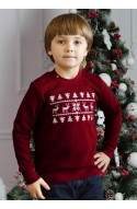 Светр з оленями для Хлопчика - Світшот Новорічний, різдвяний - Бордовий