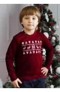 Свитер с оленями для мальчика - детский (свитшот новогодний, рождественский) - бордовый
