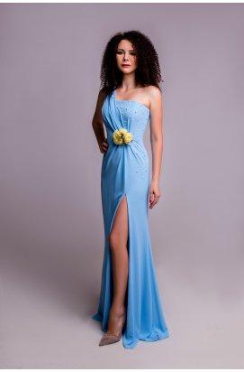 Платье прилегающего силуэта из шифона на корсаже