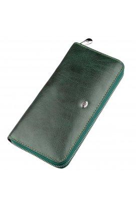 Елегантний гаманець-клатч для жінок ST Leather 18866 Зелений