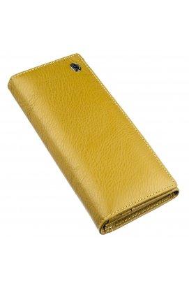 Класичний гаманець для жінок на магніті ST Leather 18871 Гірчичний Гірчичний