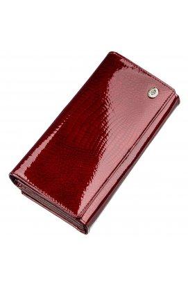 Лаковый женский кошелек с визитницей ST Leather 18911 Бордовый