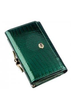 Вместительный женский кошелек на кнопке ST Leather 18914 Зеленый