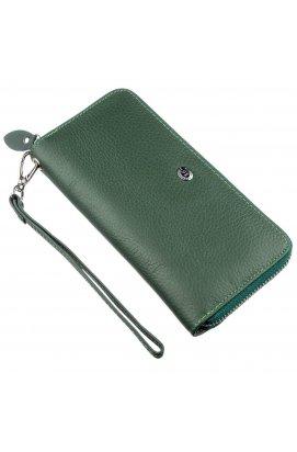 Жіночий клатч-гаманець на блискавки ST Leather 18936 Зелений