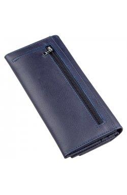 Практичный кошелек с визитницей на кнопке ST Leather 18955 Синий