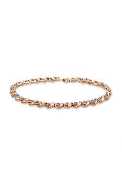 Золотой браслет с камнями из красного золота 585-й пробы с шпинелью синтетической (5 601301)