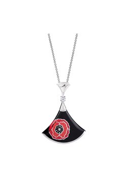 Колье c эмалью красный мак серебро 40-43-46 из родированного серебра 925-й пробы с куб. циркониями эмалью (7 10 3)
