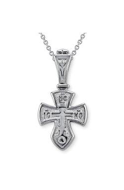 Православный крест спаси и сохрани из серебра из родированного серебра 925-й пробы (311005 )