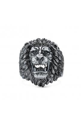Унисекс кольцо со львом серебро из родированного серебра 925-й пробы с куб. циркониями (12 952 1)