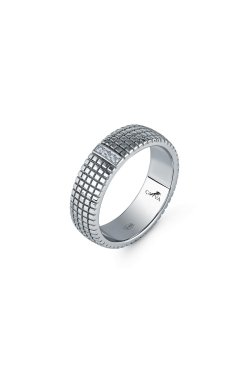 Кольцо унисекс из серебра из родированного серебра 925-й пробы с куб. циркониями (12 70 )