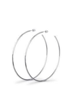 Серебряные серьги кольца большие из родированного серебра 925-й пробы ( 38 )