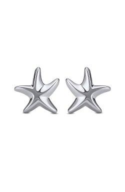 Серьги морские звезды серебро из родированного серебра 925-й пробы ( 59 )