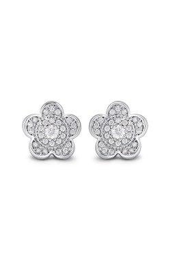 Серьги пусеты цветы серебро из родированного серебра 925-й пробы с куб. циркониями ( 10 )