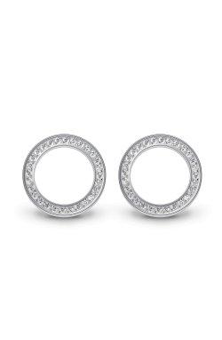 Серебряные серьги пусеты кольца из родированного серебра 925-й пробы с куб. циркониями ( 30 )