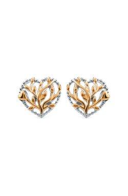Серебряные серьги пусеты сердце леса n.1 из родированного серебра 925-й пробы ( 14792 2)