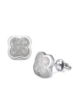 Серебряные серьги пусеты с эмалью chloe из родированного серебра 925-й пробы (28 35 )