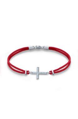 Браслет на красной нити благоденствие с серебром из родированного серебра 925-й пробы с куб. циркониями (5 530 )