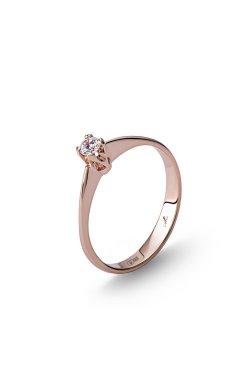 Золотое кольцо «бриз» 15 из красного золота 585-й пробы с куб. циркониями (1 0953)