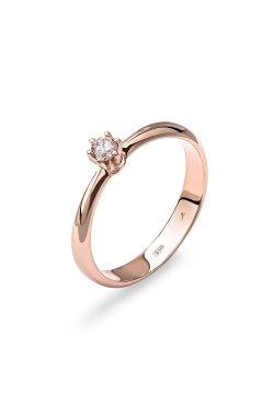 Золотое кольцо «леди» 15 из красного золота 585-й пробы с куб. циркониями (1 03)