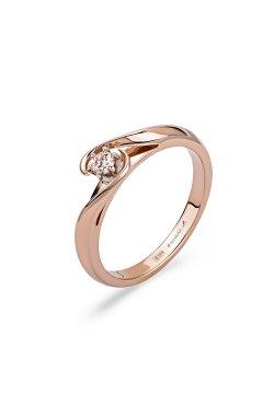 Золотое кольцо с бриллиантом орхидея из красного золота 585-й пробы с бриллиантом (151034303)