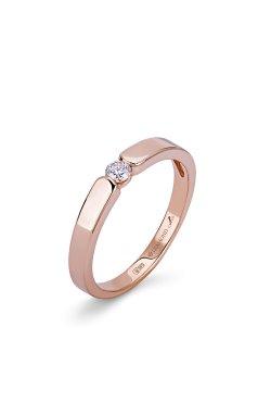 Золотое кольцо с бриллиантом гурмэ 15 из красного золота 585-й пробы с бриллиантом (1503093)
