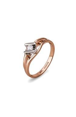 Золотое кольцо с бриллиантом индивидуальность из красного золота 585-й пробы с бриллиантом (1500533)