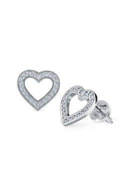 Серебряные серьги пусеты сказочное сердце из родированного серебра 925-й пробы с куб. циркониями (2 435 )