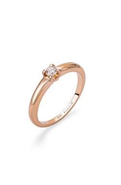 Золотое кольцо с бриллиантом изысканное сияние из красного золота 585-й пробы с бриллиантом (1511 301)