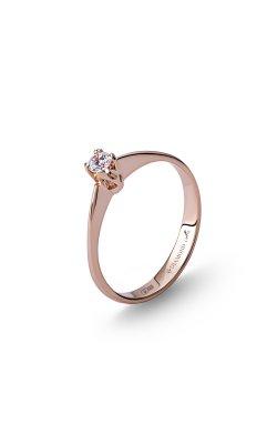 Золотое кольцо с бриллиантом бриз 15 из красного золота 585-й пробы с бриллиантом (1500953)