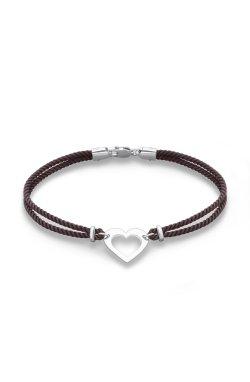 Мягкий браслет феничка сердечко с серебром из родированного серебра 925-й пробы (5114532 3)