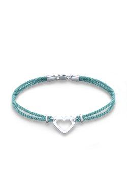 Шелковый браслет феничка сердечко с серебром из родированного серебра 925-й пробы (5114532 1)