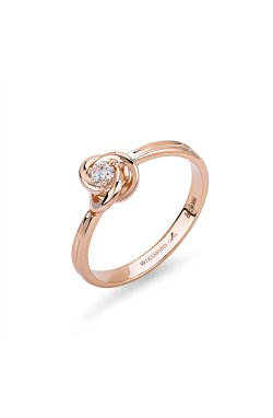 Золотое кольцо с бриллиантом бриллиантовая сфера 15 из красного золота 585-й пробы с бриллиантом (1500593)