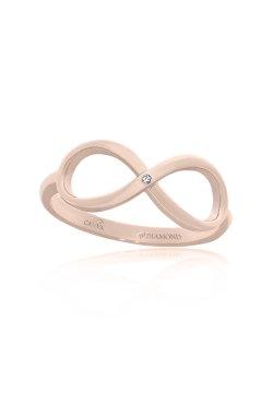 Золотое кольцо бесконечность из красного золота 375-й пробы с бриллиантом (15104770)