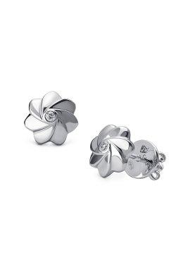 Серебряные серьги пусеты с бриллиантами розочки из родированного серебра 925-й пробы с бриллиантом (251440 )