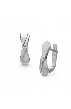 Серебряные серьги бантики с бриллиантами из родированного серебра 925-й пробы с бриллиантом (251441 )