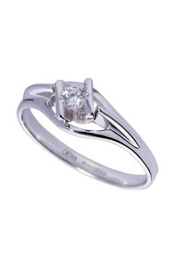 Золотое кольцо с бриллиантом индивидуальность из белого золота 585-й пробы с бриллиантом (1500534)